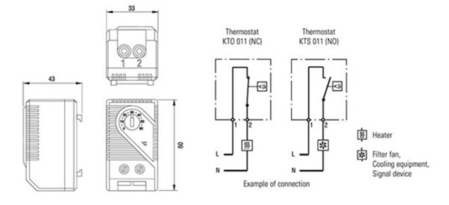 KTS 011 KTO 011 Small Thermostat Cabinet Thermostat Enclosure Thermostat  Drawing