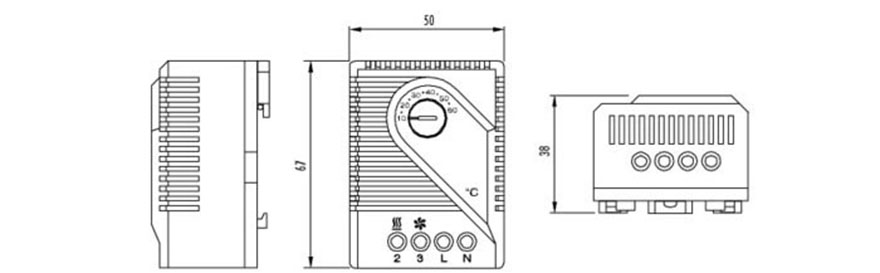 FZK 011 Mechanical Thermostat Cabinet Thermostat Enclosure Thermostat Connection & Drawing 2