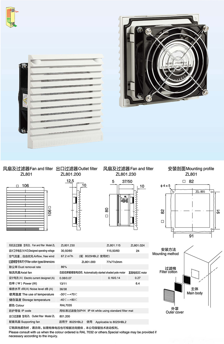 ZL-801 Plastic Filter Unit for Axial Fan